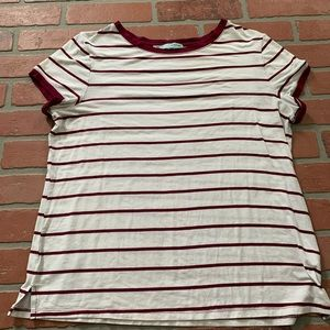 Maurice's Maroon White Striped Ringer Tee